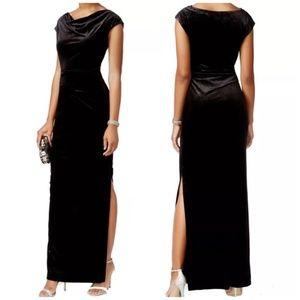 NWT Metallic Black Velvet High Slit Formal Gown 6